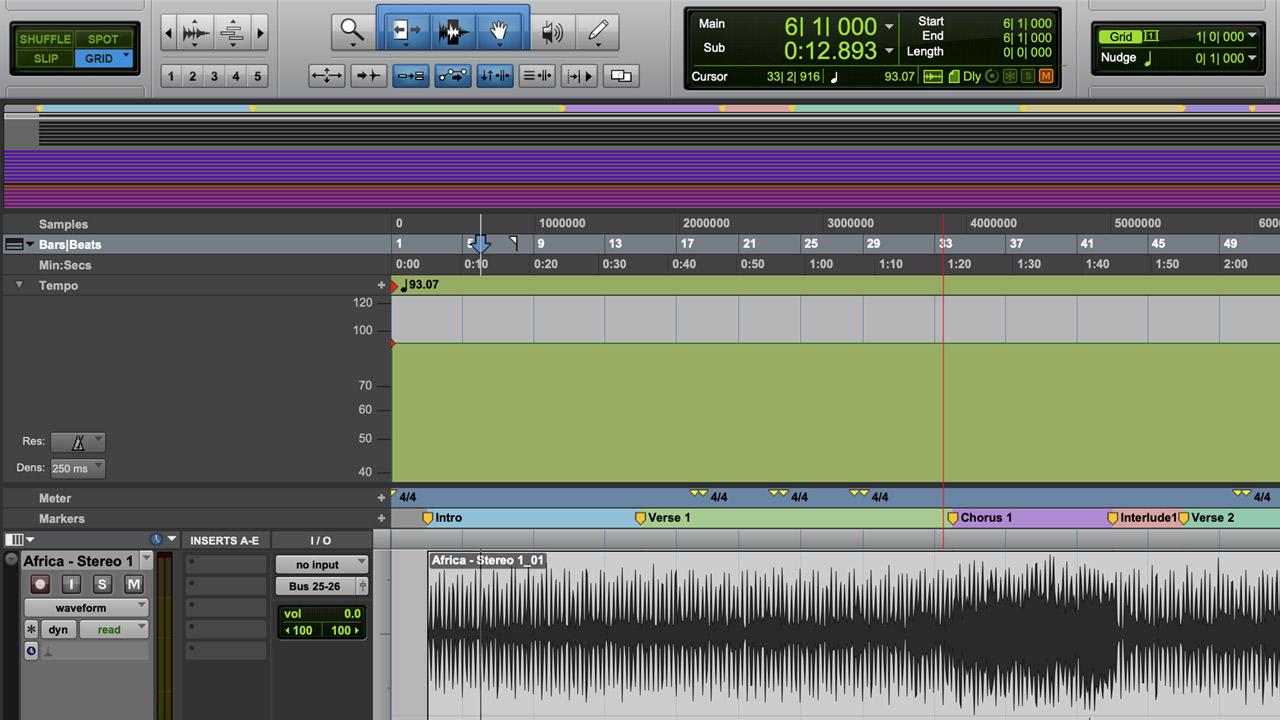 Mapa de Tempo, Métrica y Compases que resultó del trabajo de ajustar basándome en el audio de referencia.