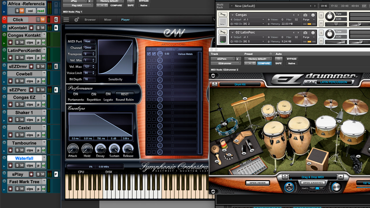 The VSTs that I used for the percussion of the Africa instrumental.