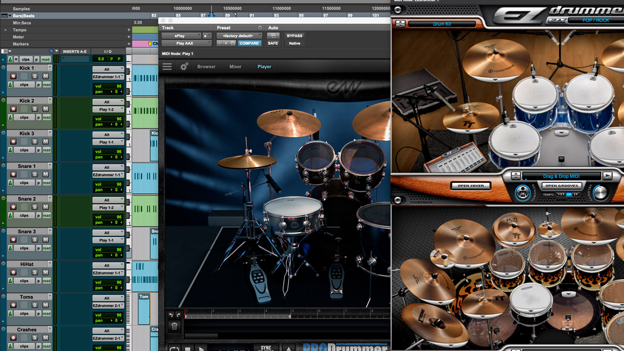 Tracks of the elements of the drums and the VST that I used.