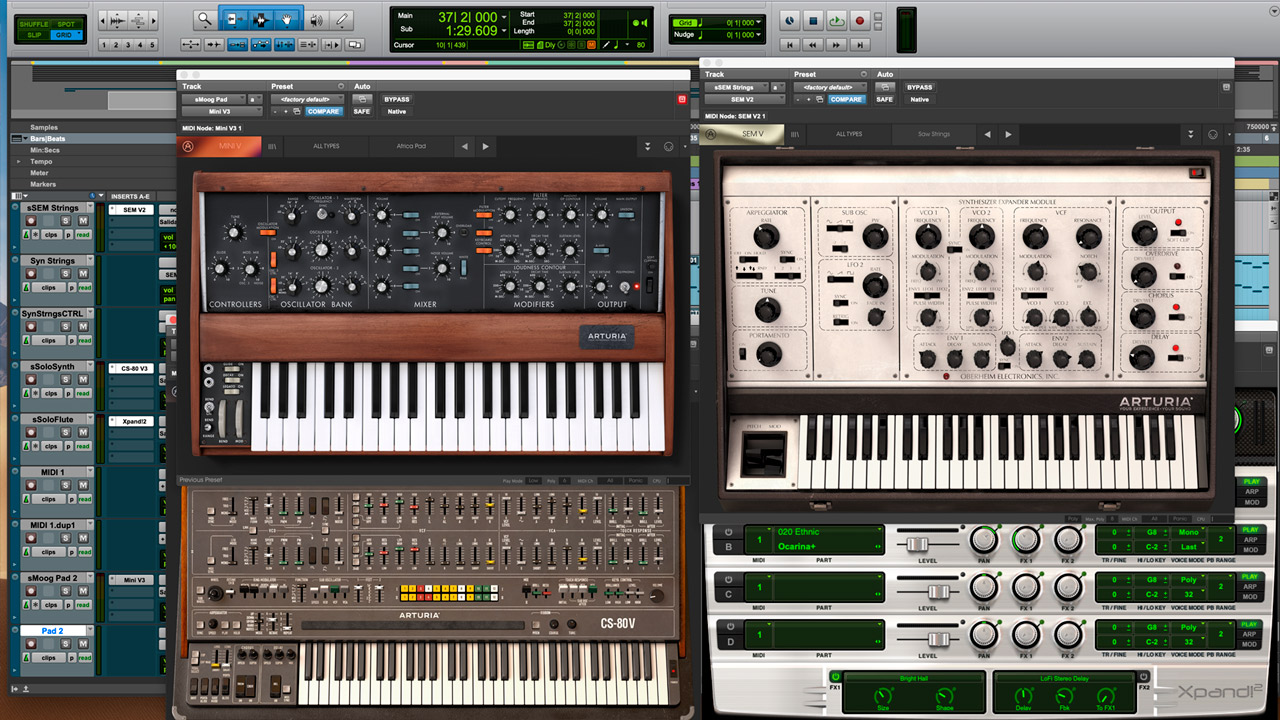 The different VST synthesizers that I used for the instruments of Africa.
