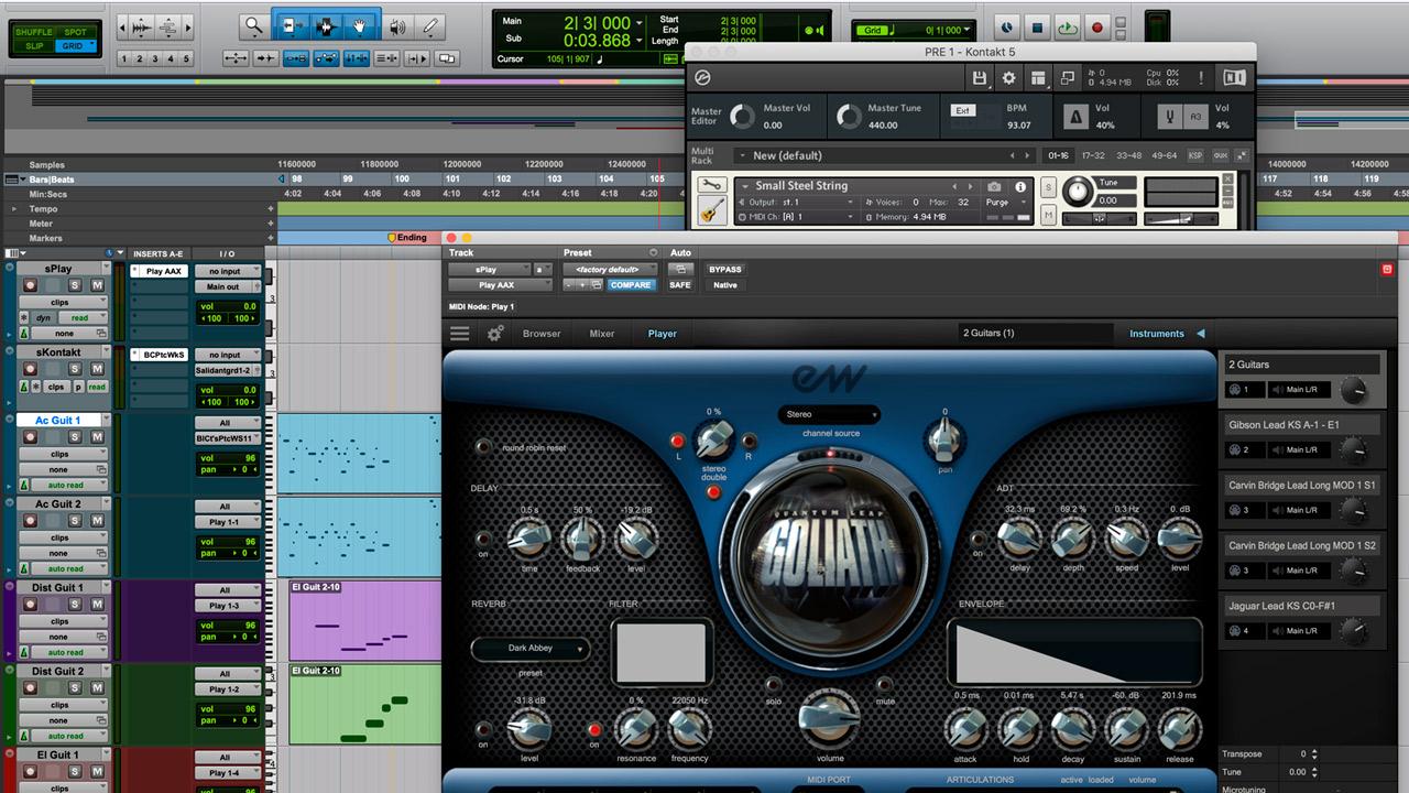 Distribución de tracks MIDI para las guitarras.