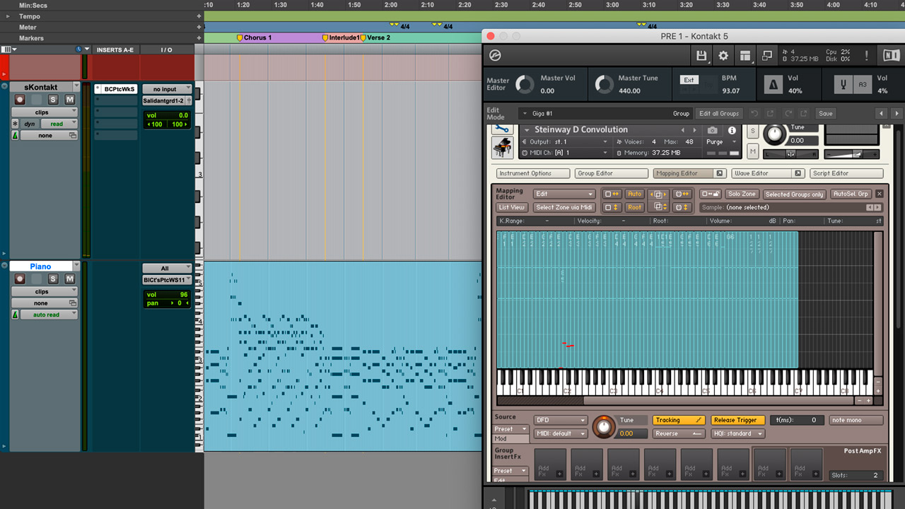 Steinway D in Kontakt. A piano with well-defined sound.
