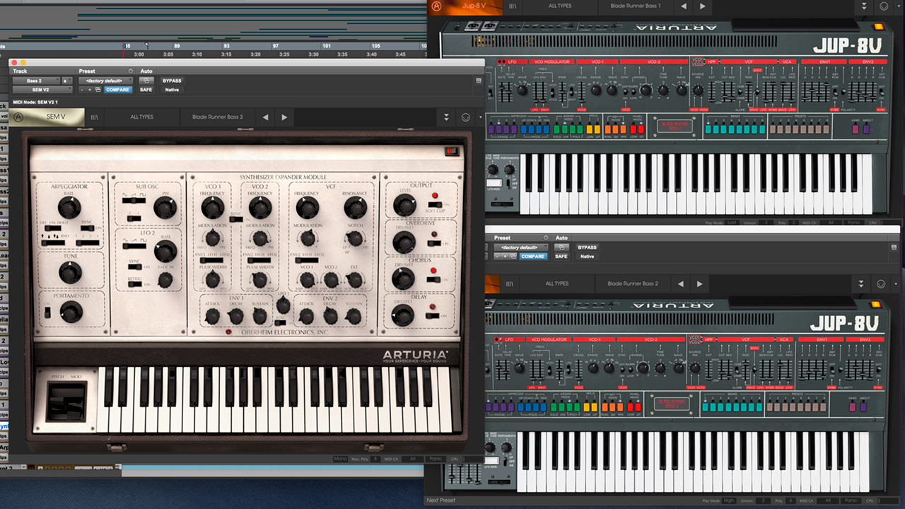 I used 3 synthesizers for the Bass: SEM V and JUP-8V twice with different sounds.