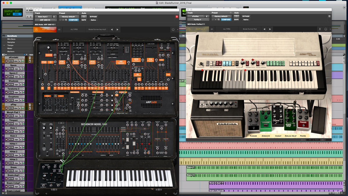 Farfisa V for Pads, and ARP 2600 V3 for synth lines. I did a manual panning for the synth lines.